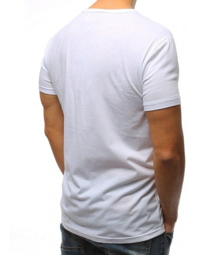 T-shirt męski z nadrukiem biały RX3084