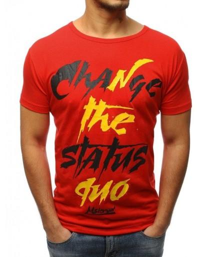 T-shirt męski z nadrukiem czerwony RX3085