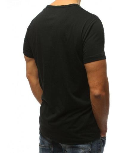 T-shirt męski z nadrukiem czarny RX3086