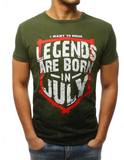 T-shirt męski z nadrukiem zielony RX3102