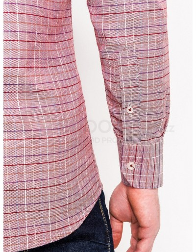 Men's check shirt with long sleeves K433 - red
