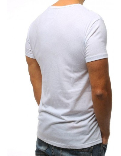 T-shirt męski z nadrukiem biały RX3111
