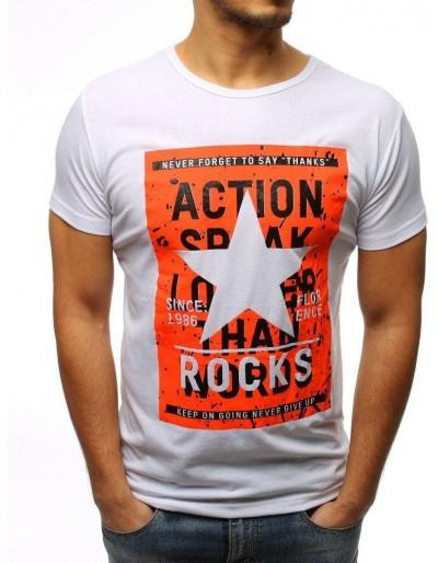 Bílé pánské tričko s potiskem RX3123