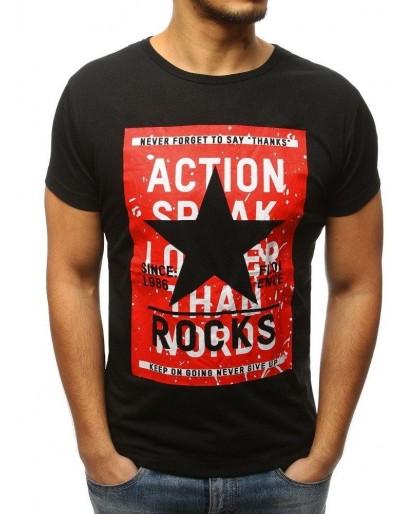 Černé pánské tričko s potiskem RX3125