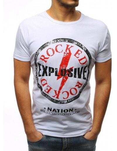 T-shirt męski z nadrukiem biały RX3129