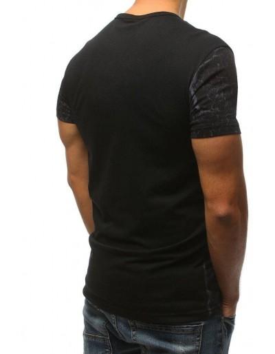 T-shirt męski z nadrukiem czarny RX3160