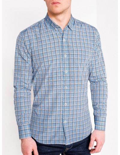 Pánská kostkovaná košile s dlouhým rukávem K447 - světle modrá