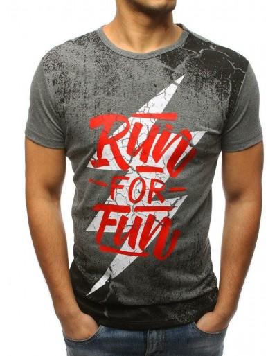 Šedé pánské tričko RX3162 s potiskem