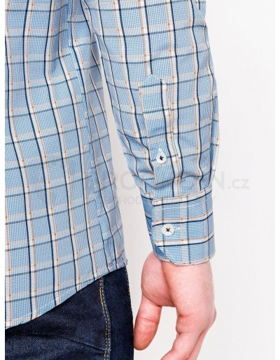 Men's check shirt with long sleeves K447 - light blue