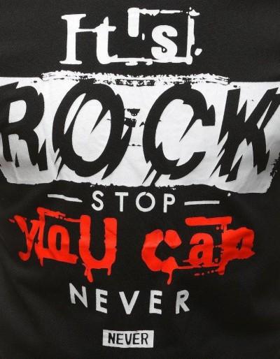 T-shirt męski z nadrukiem czarny RX3166