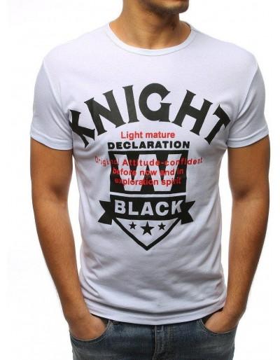 T-shirt męski z nadrukiem biały RX3167