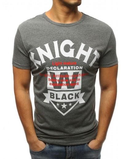 T-shirt męski z nadrukiem antracytowy RX3168