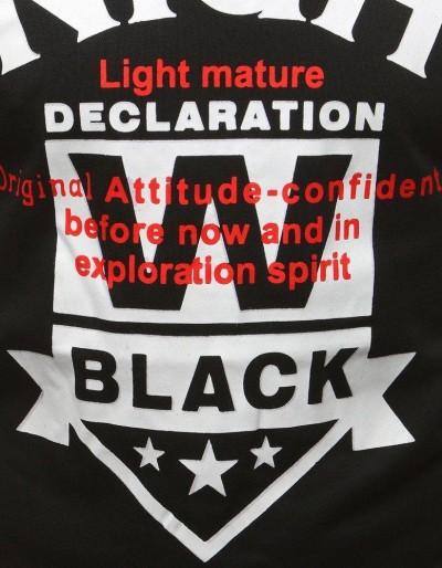 T-shirt męski z nadrukiem czarny RX3169