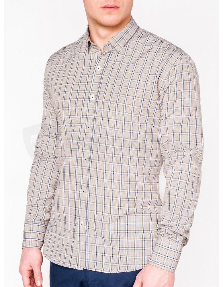 Pánská kostkovaná košile s dlouhým rukávem K447 - béžová