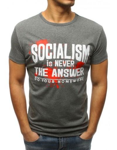 T-shirt męski z nadrukiem antracytowy RX3171