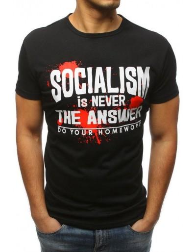 T-shirt męski z nadrukiem czarny RX3172