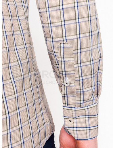 Men's check shirt with long sleeves K447 - beige