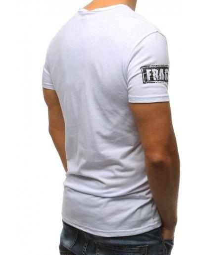 T-shirt męski z nadrukiem biały RX3176