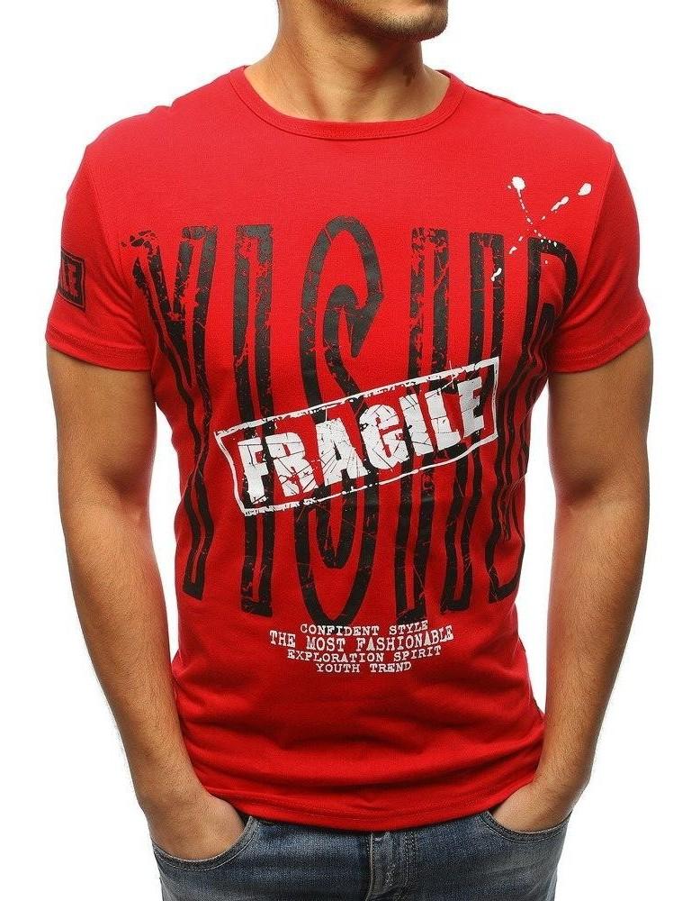 Červené pánské tričko s potiskem RX3177