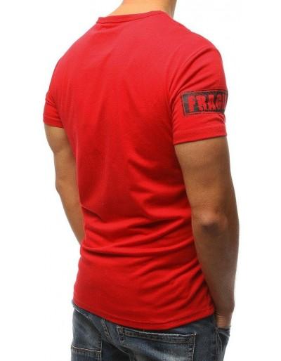 T-shirt męski z nadrukiem czerwony RX3177