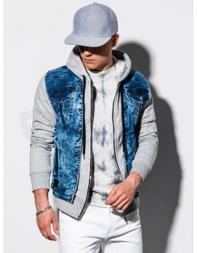 Pánská podzimní džínová bunda C322 - denim / šedá