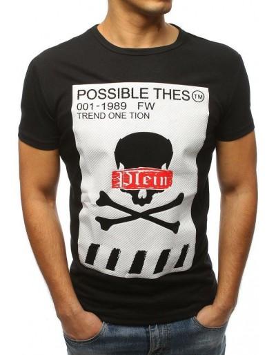 T-shirt męski z nadrukiem czarny RX3184