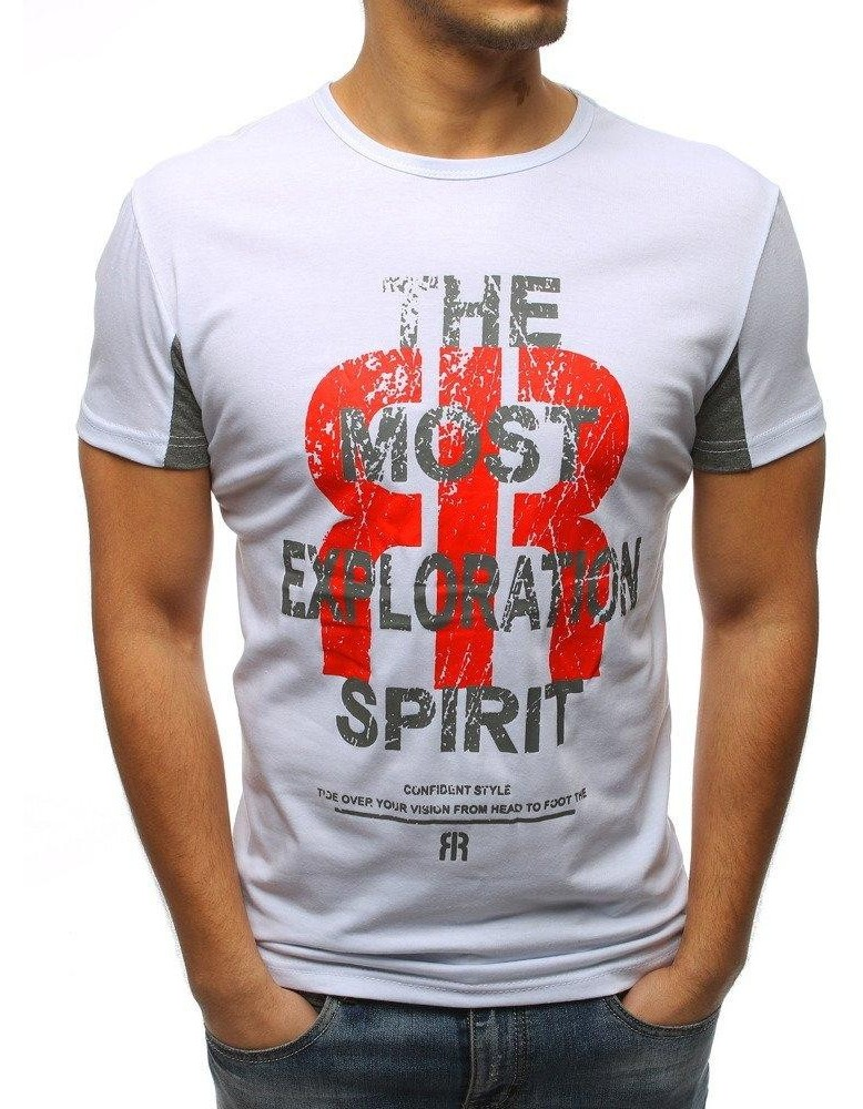 Bílé pánské tričko RX3185 s potiskem